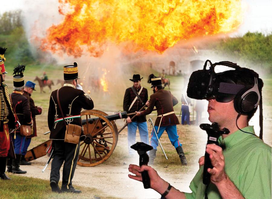 Komárom, 2016. április 24. Jelenet az 1849. április 26-án vívott gyõztes csata emlékére rendezett bemutatón a Monostori erõdben, Komáromban 2016. április 24-én. 40 lovas, 10 ágyú és 120 fõs gyalogság részvételével idézték meg az ütközetet. 1849. április 26-án vívták meg a Görgei, Klapka és Damjanich vezette honvédcsapatok a dicsõséges tavaszi hadjárat részeként az elsõ komáromi ütközetet, melyben gyõzelmet arattak a Schlik tábornok vezette osztrák seregek ellen. MTI Fotó: Krizsán Csaba